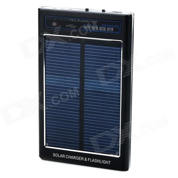 FT-2600 Universal 3.7V 2600mAh Li-ion Rechargeable Battery Solar Power Bank w/ LED - Black 2600mah rechargeable usb battery pack for mp3 mp4 psp nds cell phones
