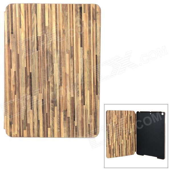 Wood Pattern Protective PC + PU Case w/ Stand for Ipad AIR - Light Green lofter happy zoo pattern protective pu pc case w stand for ipad air white brown multicolor