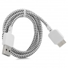 Micro USB 3.0 9pin Braid Nylon Data / Charging Cable for Samsung Note 3 - White + Black (100cm)