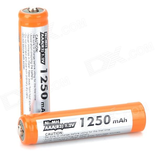 MP 1.2V 1250mAh Ni-MH Rechargeable AAA Batteries - Orange + Silver (2 PCS) ataitely rechargeable 1 2v 1000mah ni mh aaa batteries white orange green 4 pcs