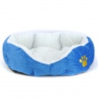 Lamb Wool + Fleece + Polyester Wadding Cotton Warm Pet House - Blue (S)