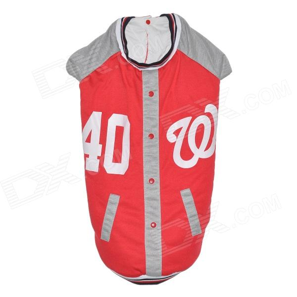 Cute Baseball Uniform Style Cotton Coat Clothes for Large & Medium-size Pet Dog - Red + Grey (L)