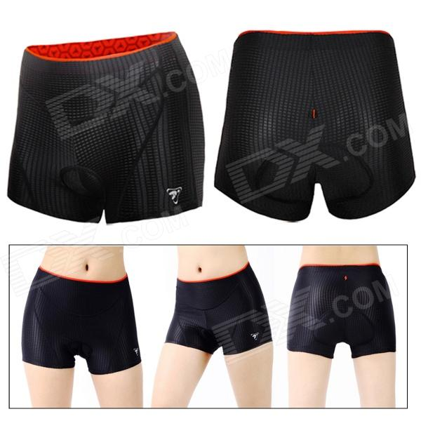 Outdoor Women's Cycling Breathable Silicone Pad Antibacterial Short Pants - Black (Size L)