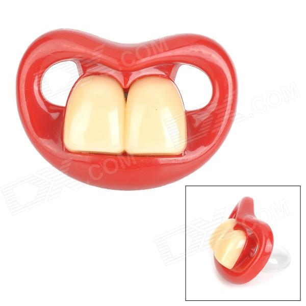 Buck Teeth Style Baby's Nipple Pacifier - Red + White
