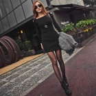 Fashion Women's Cotton Long -Sleeve Slim Dress - Black (Free Size)