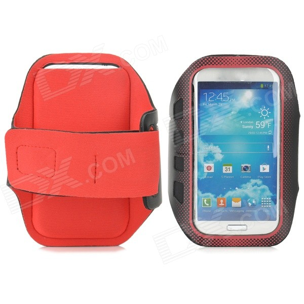 Stylish Sports Gym Neoprene Armband Case for Samsung Galaxy S4 i9500 / S3 i9300 - Red + Black