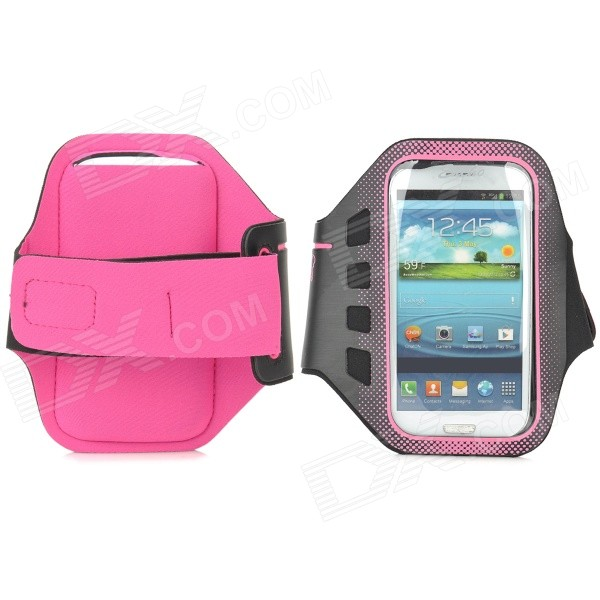 все цены на  Stylish Sports Gym Neoprene Armband Case for Samsung Galaxy S4 i9500 / S3 i9300 - Deep Pink + Black  онлайн