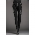 YLY-FLA1107-8256 Fashion Nylon + Artificial Leather Women's Harem Pants - Black (Size L)