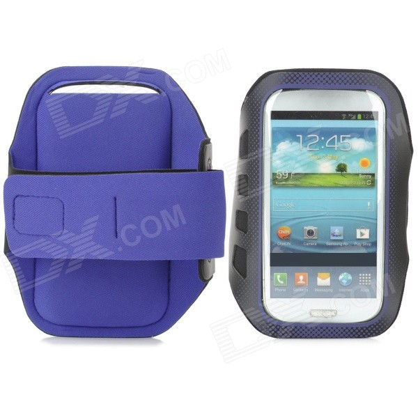 все цены на  Stylish Sports Gym Neoprene Armband Case for Samsung Galaxy S4 i9500 / S3 i9300 - Purple + Black  онлайн