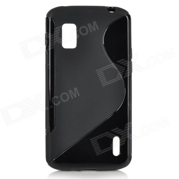 Anti-Slip S Style Protective TPU Back Case w/ Screen Protector for LG Nexus 4 E960 - Black s style protective tpu pc back case w stand for lg nexus 5 black transparent