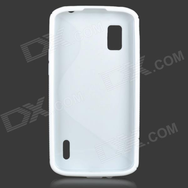 Anti-Slip S Style Protective TPU Back Case w/ Screen Protector for LG Nexus 4 E960 - White x style anti slip protective pvc tpu back case for lg nexus 5 e980 d820 black