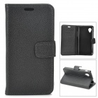 Lychee Grain Style Protective PU Leather + Plastic Case for Google Nexus 5 LG E980 - Black