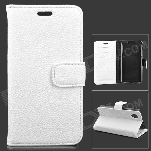 MI-A Lychee Grain Style Protective PU Leather + Plastic Case for Google Nexus 5 LG E980 - White bp a lychee grain style protective pu leather plastic case for google nexus 5 lg e980 black