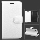 Lychee Grain Style Protective PU Leather + Plastic Case for Google Nexus 5 LG E980 - White