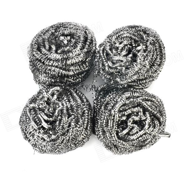Jinfu J-8334 Stainless Steel Wire Kitchen Dish Cleaning Ball Scrubbers - Silver (4 PCS) silver color stainless steel adjustable kitchen bathroom office furniture cabinet shelves legs feets pack of 4 50x180mm