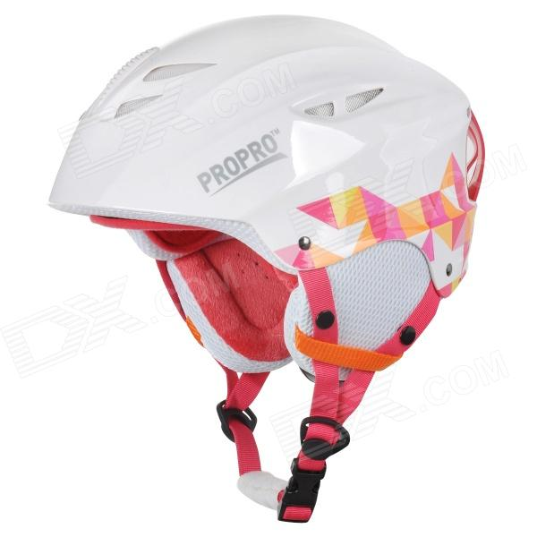 PROPRO SHM-001 Stylish Outdoor Sports ABS + EPS Warm Skiing Helmet - White + Deep Pink black kayak boating water sports helmet abs out shell prefessional water skiing helmet