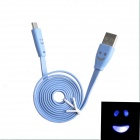 Smile Face Pattern Flat USB 2.0 Male to Micro USB Male Data Sync / Charging Cable - Blue (103cm)