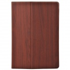Wood Grain Protective PU Leather + Plastic Case Cover Stand w/ Card Slot for Ipad AIR - Red