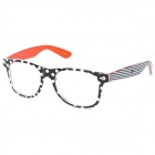Fashion Women's Dot Pattern Glasses Frame - Black + White