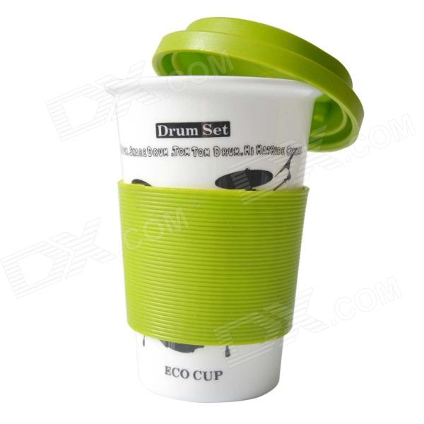 DEDO MG-397 Originality Ceramic Coffee Mug w/ Lid - White + Green (400mL)