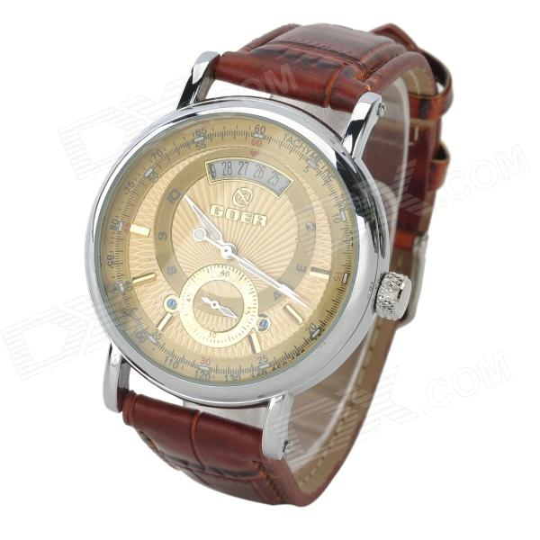 Fashion Men's PU Band Mechanical Wrist Watch - Brown + Silver