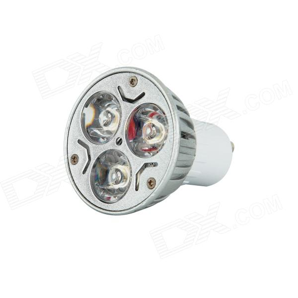 KindFire GU10 3 x 1W 220lm 6500K 3-LED White Light Spotlight - Silver + White (AC 85~265V)