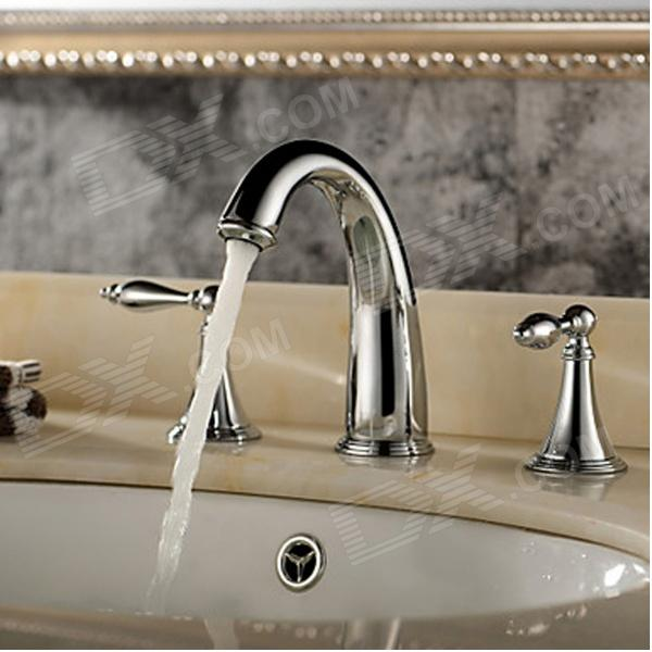 YDL-F-0534 Separated Type Classic Brass Bathroom Sink Faucet - Silver