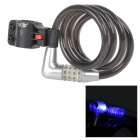 ZHONGLI 87604 Bike PIN Combination Pad Lock w/ LED Light - Black