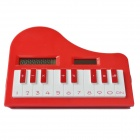 "DEDO MG-128 1.5"" LCD Piano Shape Solar Power 8-Digit Calculator - Red"