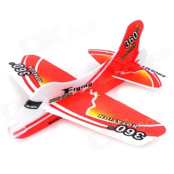 DIY Foam 360 Degree Flying Back Aircraft Model Toy - Red + White 37cm resin plane model a320 airplane model china eastern qinghai airlines aircraft model china eastern airways aviation model
