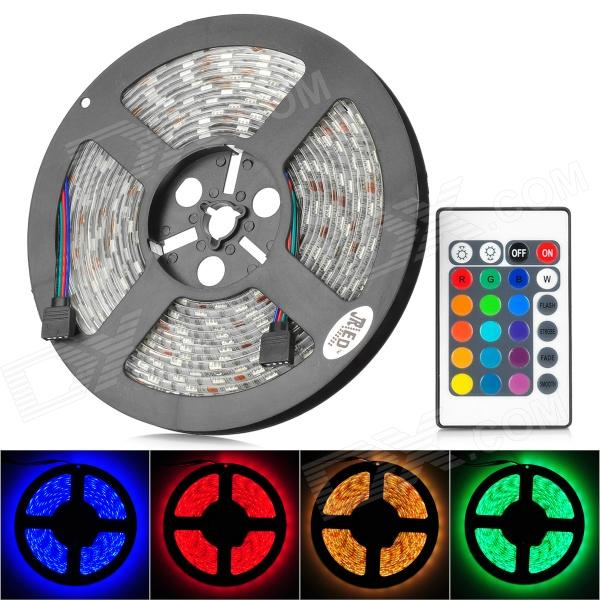 JRLED 72W 4500lm 300-SMD 5050 LED RGB Light Strip w/ 24 Keys Remote Controller (12V / 5m) 10m 5m 3528 5050 rgb led strip light non waterproof led light 10m flexible rgb diode led tape set remote control power adapter