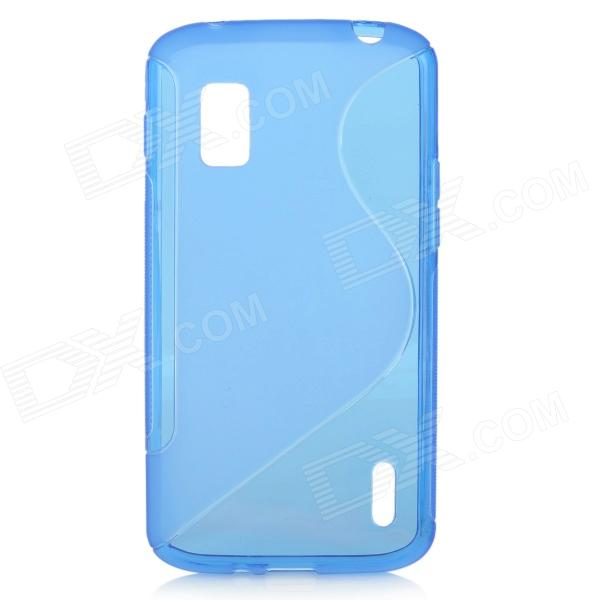 Anti-Slip S Style Protective TPU Back Case w/ Screen Protector for LG Nexus 4 E960 - Blue newsets mercury flash powder tpu protector case for iphone 7 4 7 inch baby blue