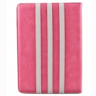 Trilinear Pattern Protective PU Leather Case Cover Stand w/ Card Slot for Ipad AIR - Pink + White