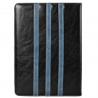 Trilinear Pattern Protective PU Leather Case Cover Stand w/ Card Slot for Ipad AIR -Dark Blue+ Black