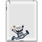 Cute Rascal Pattern Protective Sticker for iPad 2 / 3 / 4 - White + Blue