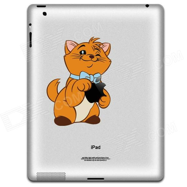 Cute Cat Pattern Protective Sticker for Ipad 2 / 3 / 4 - White + Yellow
