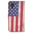 Stylish U.S. Flag Pattern Flip-open PU Leather Case w/ Holder + Card Slot for Google Nexus 5 E980