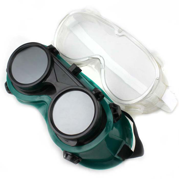 H1XY Protective Dual Electric Welding Sunglasses Goggles - Green + Black