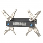 Yongruih HF-84 Bicycle Mini 8-in-1 Folding Multi-Function Screwdriver Tools - Black + Silver