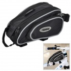 Stylish Bicycle Front Tube Bag w/ Rain Cover - Black