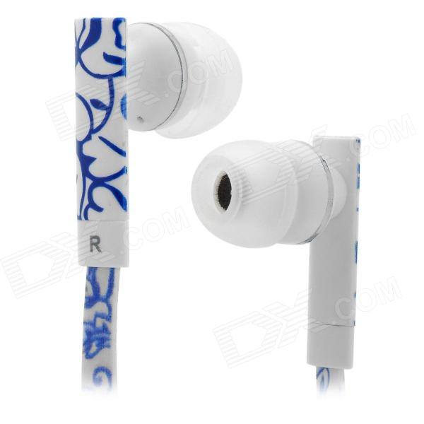 SONUN SN-A03 Fashion Lines 3.5mm In-Ear Earphone - Blue + White sn 335mp fashion stereo earphone without microphone white red