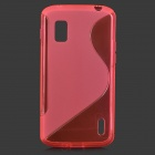 Anti-Slip TPU Back Case + PET Clear Screen Guard Film for LG Nexus 4 E960 - Deep Pink
