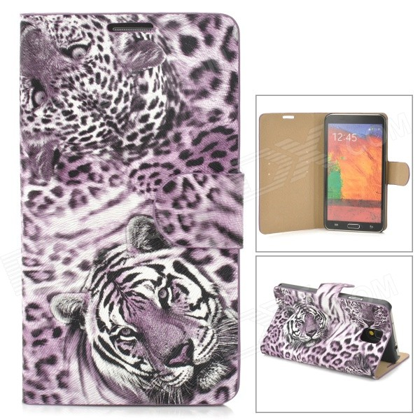 Stylish Tiger Pattern Flip-open PU Leather Case w/ Card Slot + Holder for Samsung Note 3 - Purple stylish flip open pu leather case w holder card slot for samsung note 3 black