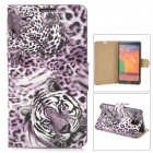 Stylish Tiger Pattern Flip-open PU Leather Case w/ Card Slot + Holder for Samsung Note 3 - Purple