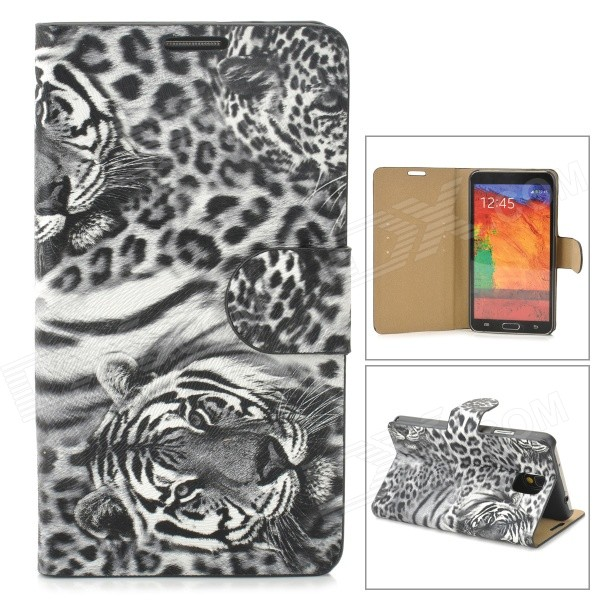 купить Stylish Tiger Pattern Flip-open PU Leather Case w/ Card Slot + Holder for Samsung Note 3 - Black недорого