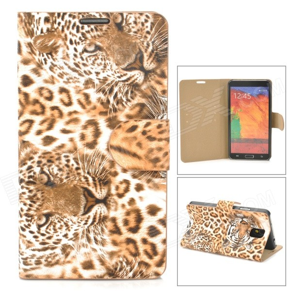 Stylish Tiger Pattern Flip-open PU Leather Case w/ Card Slot + Holder for Samsung Note 3 - Yellow stylish flip open pu leather case w holder card slot for samsung note 3 black