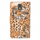 Stylish Tiger Pattern Flip-open PU Leather Case w/ Card Slot + Holder for Samsung Note 3 - Yellow