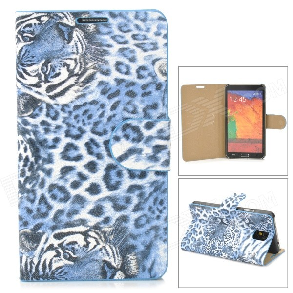 Stylish Tiger Pattern Flip-open PU Leather Case w/ Card Slot + Holder for Samsung Note 3 - Blue stylish flip open pu leather case w holder card slot for samsung note 3 black