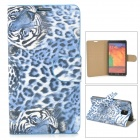 Stylish Tiger Pattern Flip-open PU Leather Case w/ Card Slot + Holder for Samsung Note 3 - Blue