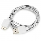 Micro USB 3.0 Type B Data / Charging Cable for Samsung Note 3 / N9000 - White + Black + Silver (1m)